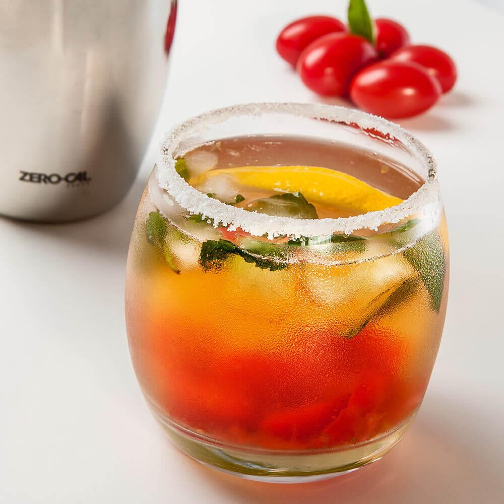 Caipirinha-Limão siciliano com gelo de manjericão
