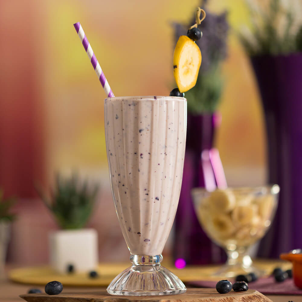 Suco-Smoothie de Banana com Mirtillo
